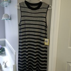 NWT Black Silver A line tank dress by ECI SMALL